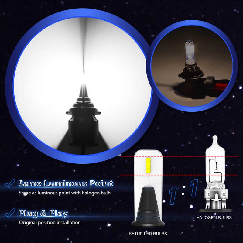 Katur Fanless LED H1 H3 H7 H11 9005 9006 9012 HIR2 HB3 H4 Car Headlight Bulbs Hi-Lo Beam 14000Lm 12V 24V No Fan Fog Lights