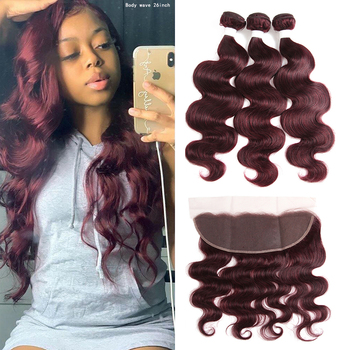 99J/Burgundy Body Wave Human Hair Bundles With Frontal 13x4 KEMY RedWine Brazilian Weave Closure Non-Remy - discount item  53% OFF Beauty Supply