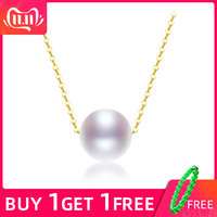 [ZHIXI] Natura pearl jewelry pearl charms ,AU750 18K yellow gold chain8 9mm round pearl pendant necklace N02