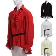 WENYUJH 2019 Male Medieval Renaissance Lacing Up Shirt Bandage Tops Men Larp Vintage Costume Fluffy Long Sleeve Plus Size S-5XL