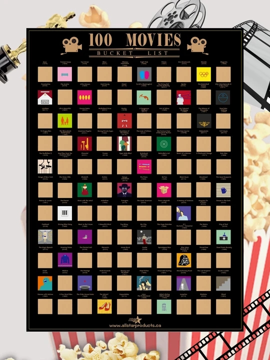 100 Movies Scratch Off Poster- Bucket List Poster- Quality Easy Off Gold Foi - Top Films Of All Time Bucket List (16.5