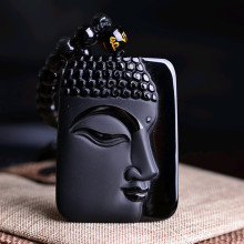 Black Natural Obsidian Necklace Scrub Buddha Head Pendant For Women Men Jewelry Jade Fine Party Anniversary Gift