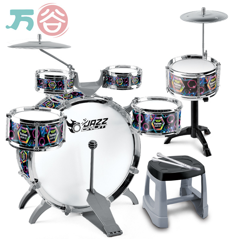 Kids Toy Musical Drums Set Early Education Drumset For Kids Children Percussion Instrument 5 Drums + 1 Cymbal With Small Stool