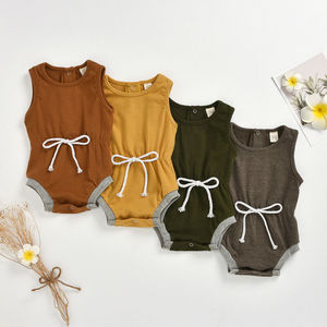 Pudcoco Newborn Baby Boy Girl Clothes Solid Color Sleeveless Cotton Romper Jumpsuit One-Piece Outfit Sunsuit Clothes