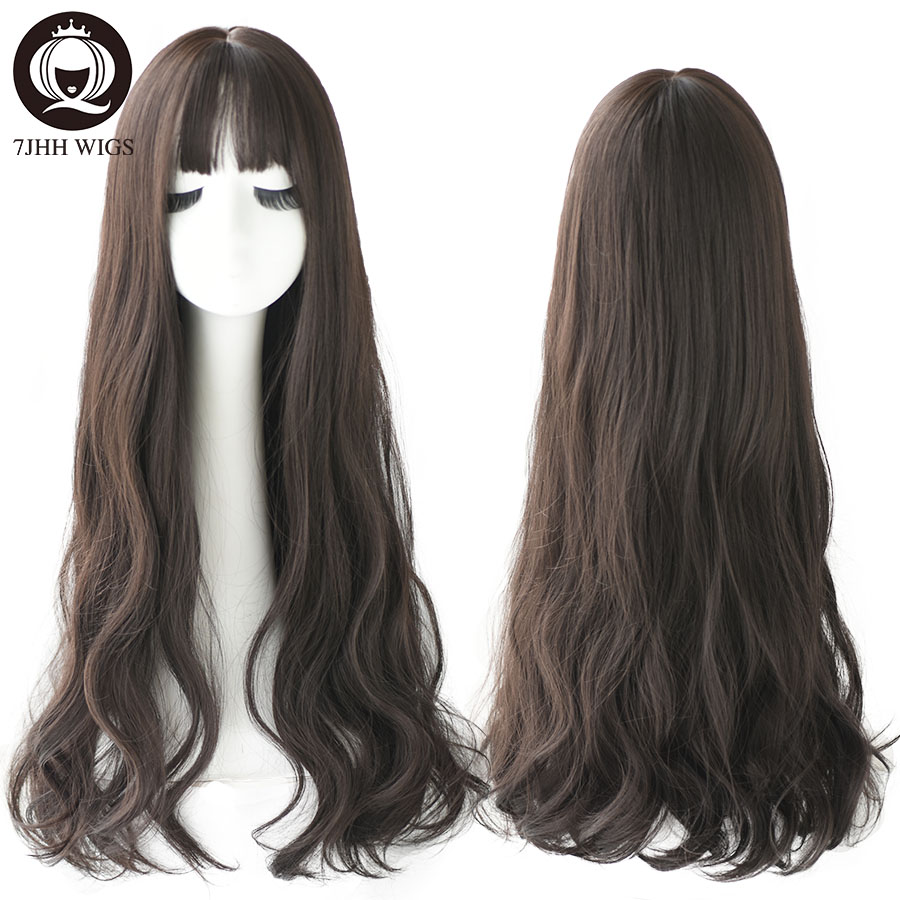 7JHH Popular Brown Ash Long Deep Wave Hair Lolita Wigs With Bangs Synthetic Wig For Women Fashion Thick Curls Wigs For Girl