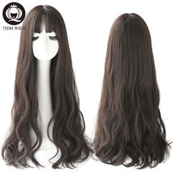 7JHH Popular Brown Ash Long Deep Wave Hair Lolita Wigs With Bangs Synthetic Wig For Women Fashion Thick Curls Wigs Girl
