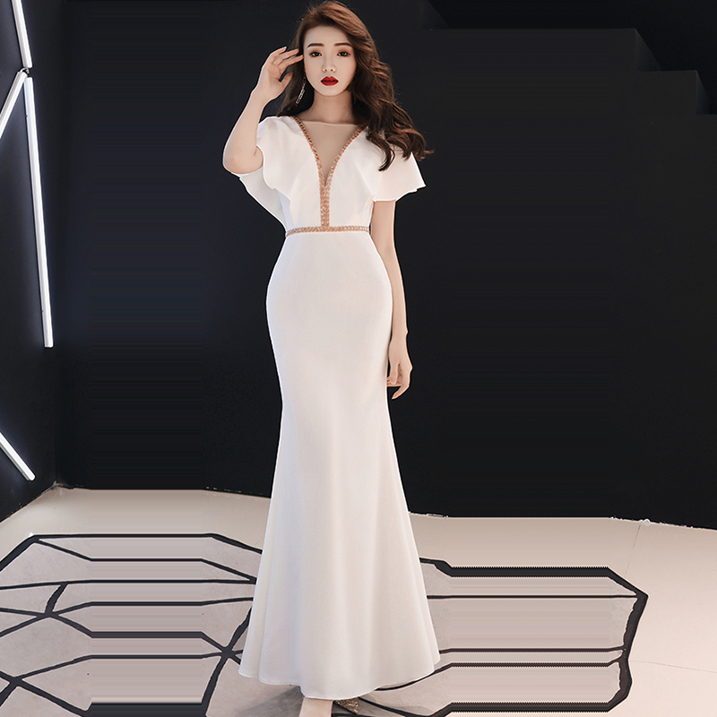 Evening Dress O-neck Short Sleeve Robe De Soiree 2019 Floor Length Elegant Women Party Dresses Soild Ruffles Evening Gowns F160