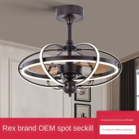 Industrial air ceiling lamp bedroom fan chandelier dining room circular ceiling fan lamp DC variable frequency fan lamp