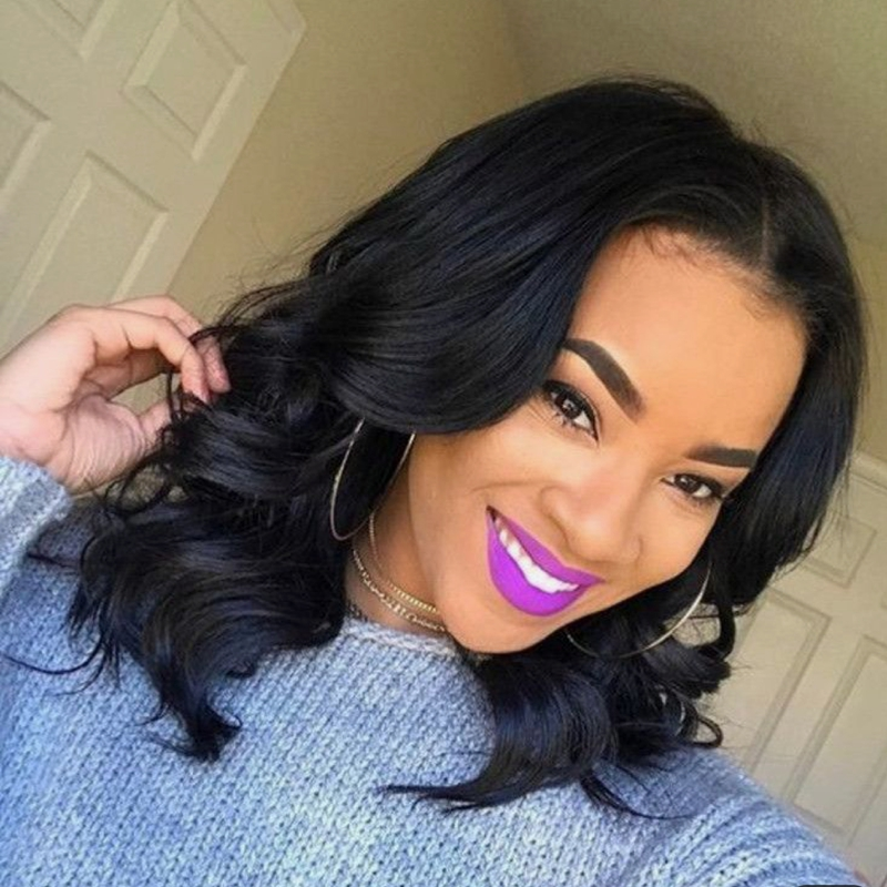 Natural Wave Short Bob Lace Front Wigs Human Hair Brazilian Remy Natural Black Pre Plucked Bleached
