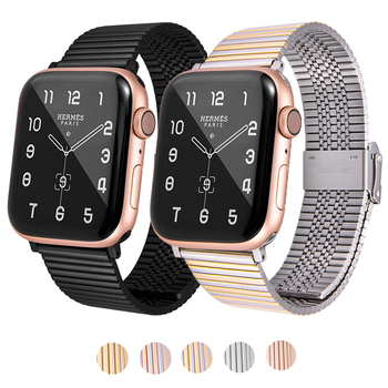 new stainless steel 7 points watch band for apple watch 38mm 42mm iwatch strap black silver rose gold butterfly clasp bracelet New Stainless Steel Mesh band For Apple Watch Strap 6 SE 44/42mm Watchband color Bracelet Band for iWatch Series 4 5 6 42mm 38mm
