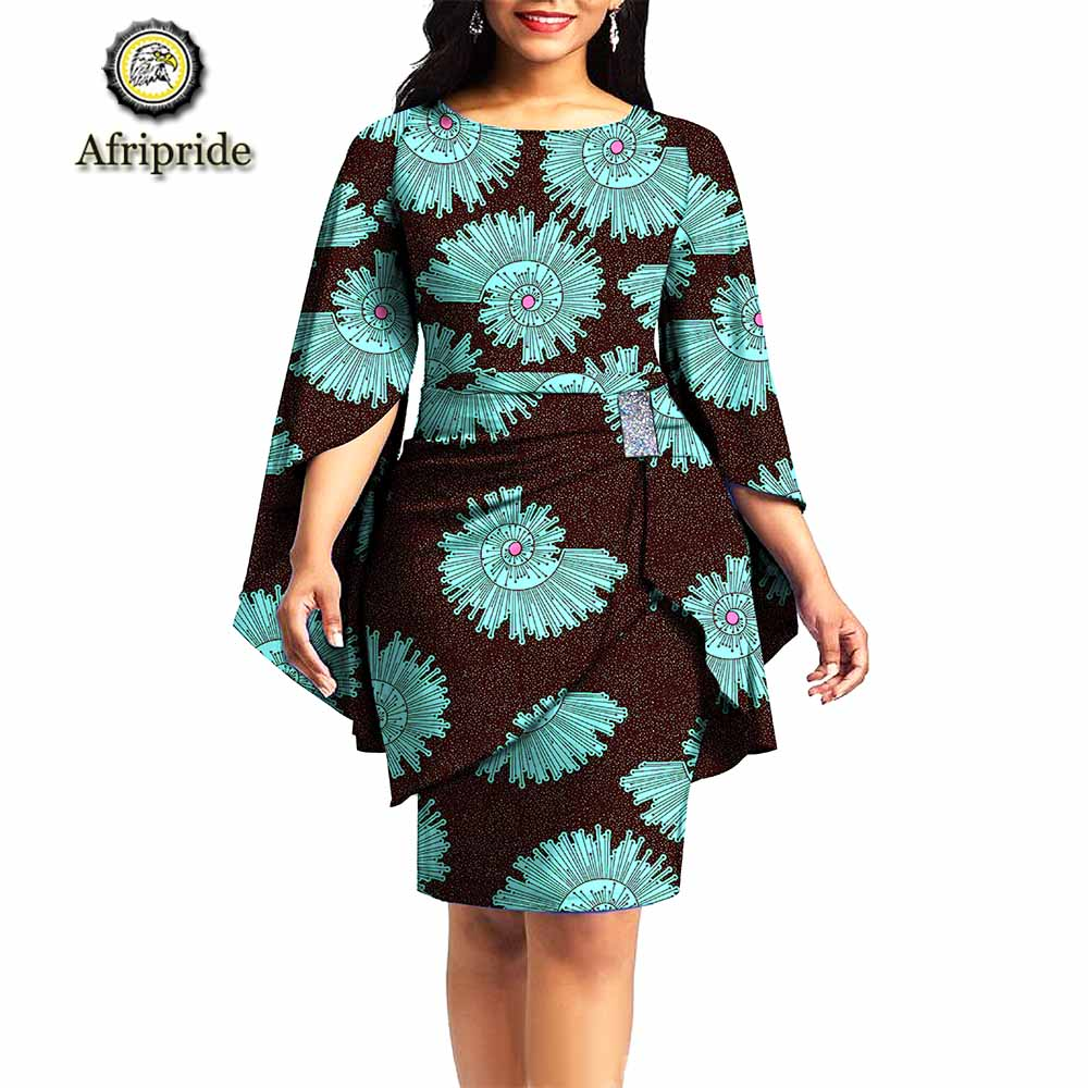 2019 African print dresses for women party dress dashiki outfits ankara dress+sashes wedding formal clothing AFRIPRIDE s1925059