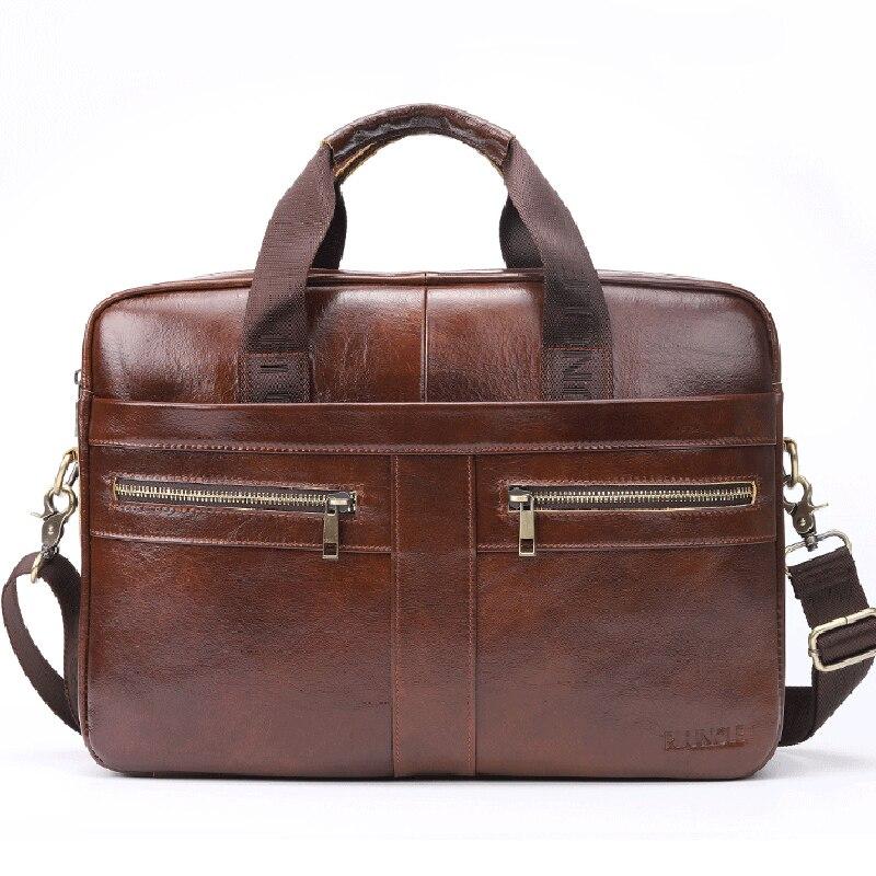 Sacs à bandoulière en cuir véritable 14 ''sac à main pour ordinateur portable affaires peau naturelle hommes fourre-tout porte-documents poignée supérieure sac à bandoulière