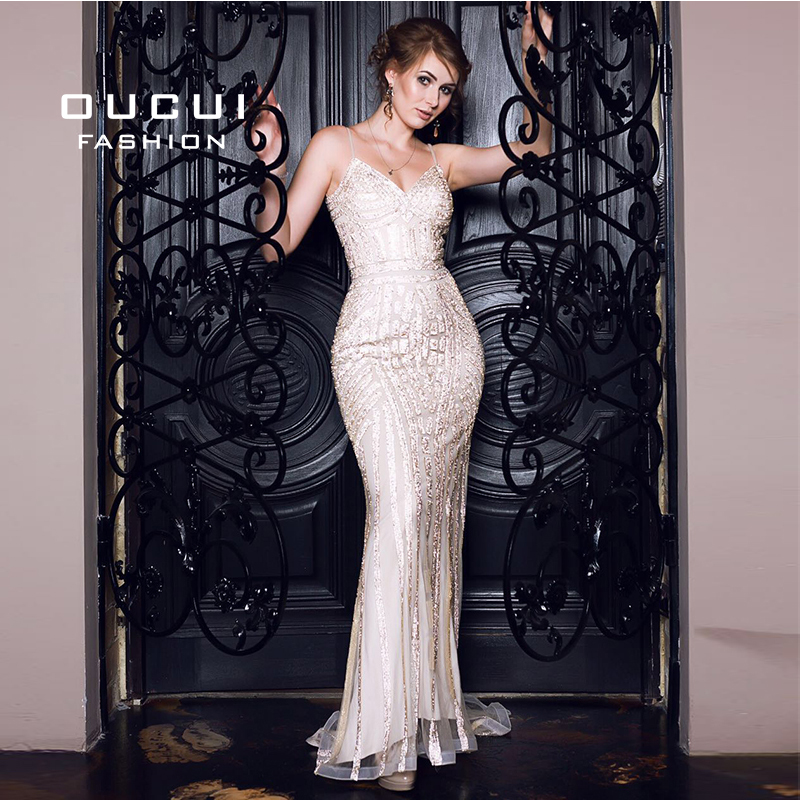 Oucui Luxury Crystal Evening Dress Long Tulle Mermaid Plus Size Vestidos De Fiesta De Noche Prom Dresses Robe De Soiree OL102829