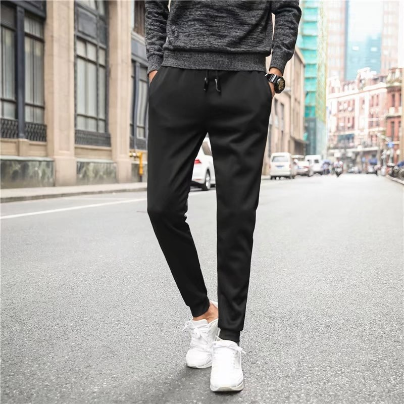 Thin Casual Men's Trousers Youth Slim Fit Men's Trousers Korean-style Elasticity Leather Tip With Drawstring Men's Casual Pants