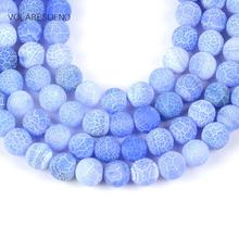 Natural Matte Frost Cracked Light Blue Stone Round Loose Beads For Jewelry Making 4-12mm Spacer Fit Diy Bracelet Necklace