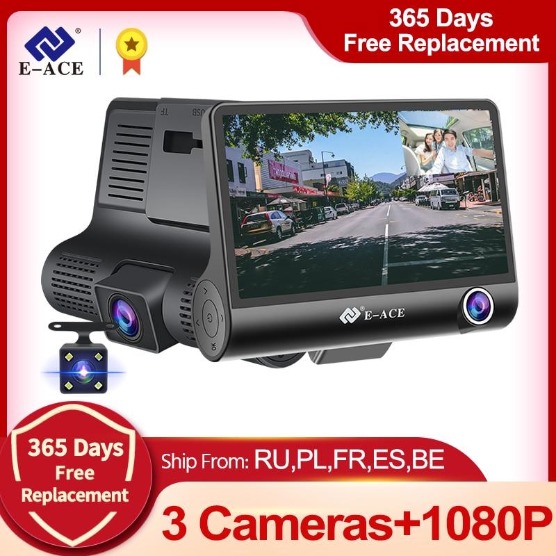 E-ACE Автомобильный видеорегистратор 4,0 дюймов Dash Cam FHD 1080P видео рекордер камеры автомобиля авто видеорегистратор Поддержка камеры заднего ви...
