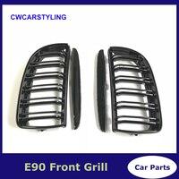 3 Series 2PCS Gloss Black Front Grille Grill Double Slat For BMW E90 E91 320i 323i 325i 328i Sedan 4 Door 2005 2008