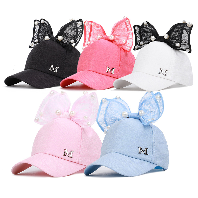 Summer 2020 Children's Hat M-marked Bow Pearl Net Hat Korean Girls Hat Baseball Cap Wholesale