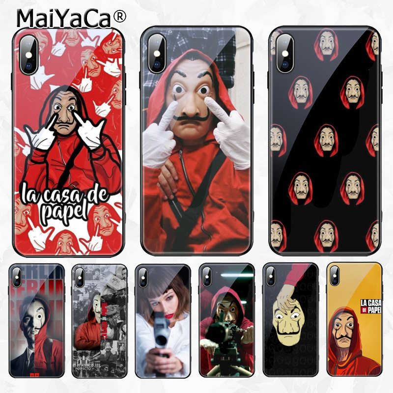 MaiYaCa La Casa De Papel Money Heist TPU black Phone Case Tempered Glass  for Apple iPhone 8 7 6 6S Plus X XS MAX XR Cover