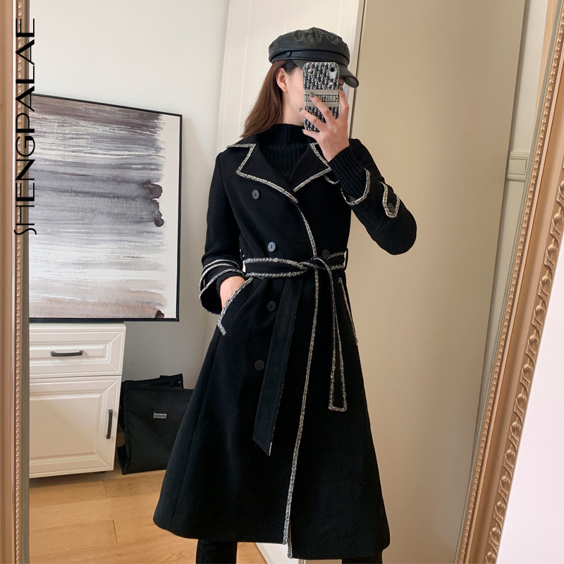 Shengpalae 2020 Nieuwe Mode Herfst Winter Overjas Voor Vrouwen Lange Met Riem Solid High Street Trendy Wollen Jas Vrouwelijke A841