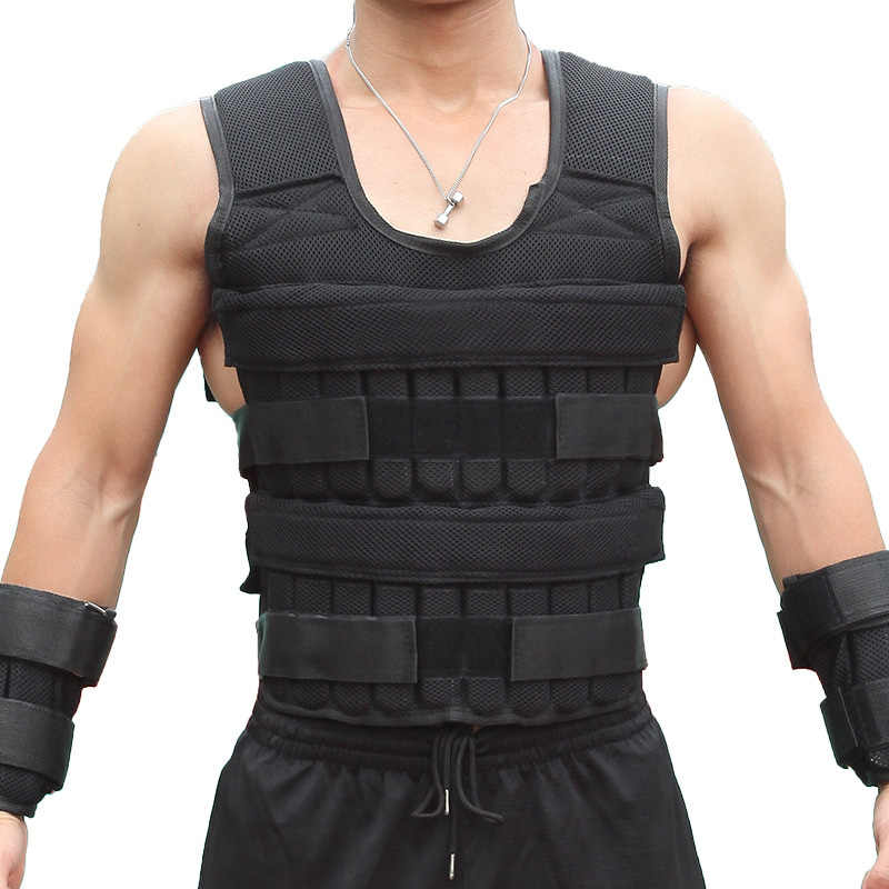 15/35KG Loading Weight Vest For Boxing Weight Training Workout Fitness Gym Equipment Adjustable Waistcoat Jacket Sand Clothing