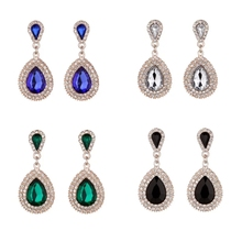цена на MeiLD Full Crystal Drop Earrings For Women Charms Luxury Large Teardrop Rhinestone Dangle Earrings Wedding Party Ear Jewelry