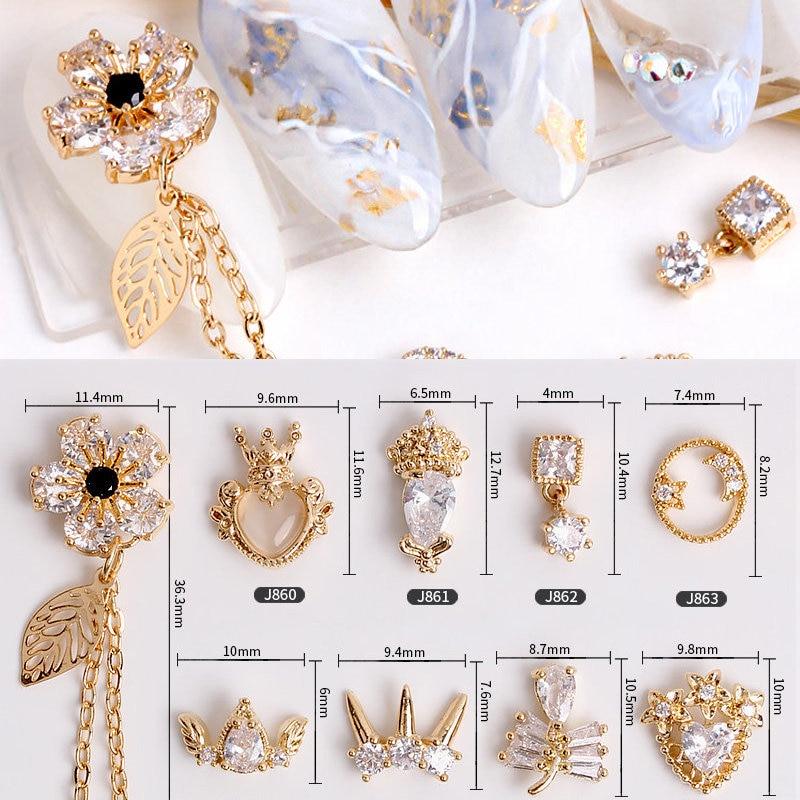 5pcs Flower Moon Crystal Zircon Pendant Nail Art Rhinestone Metal Manicure Nail Accessories DIY Nail Decorations Nails Charms