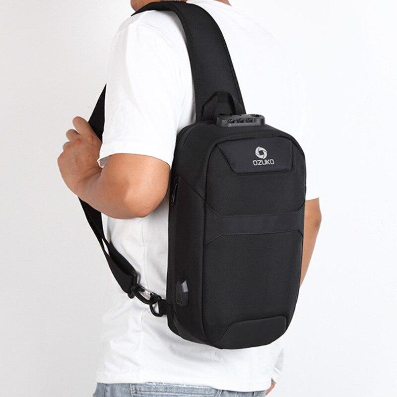 Image 2 - OZUKO Mens Messenger Bag Antitheft Waterproof USB Recharging  Shoulder Crossbody Bags Chest Pack Male Sling Bag for Short  TripCrossbody Bags