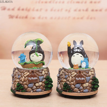 2 sizes Cartoon cute Totoro Cat Anime Action Figure Printed Music box Crystal Ball Decoration Studio Ghibli Gift Whirligig Doll