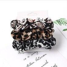 Scrunchies Velvet Ponytail-Holders Hair-Accessories-Set Rubber-Bands Leopard Girls Women