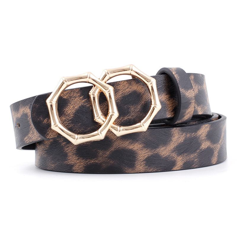 2020 New Designer Women's Bamboo Double Ring Buckle Belt Strap Female Black White Leather Leopard Print Waist Belts For Ladies