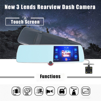 3 Lens 4.5 Inch Full HD Touch Screen 1080P Car Dvr Camera Auto Rearview Mirror Digital Video Recorder Registratory Camcorder