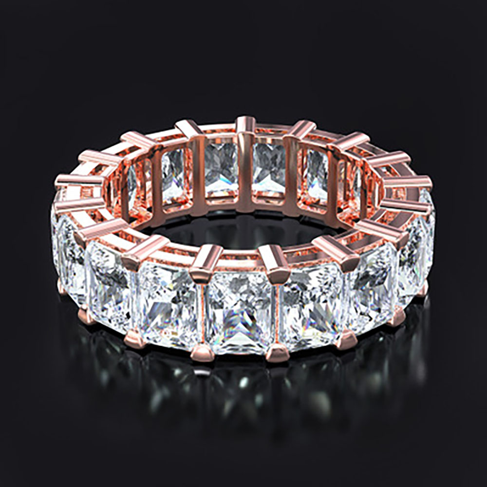 Classical Sterling Silver Rose Gold Color AAAAA CZ Eternity Proposal Ring for Women Wedding Engagement Bands Fine Jewelry