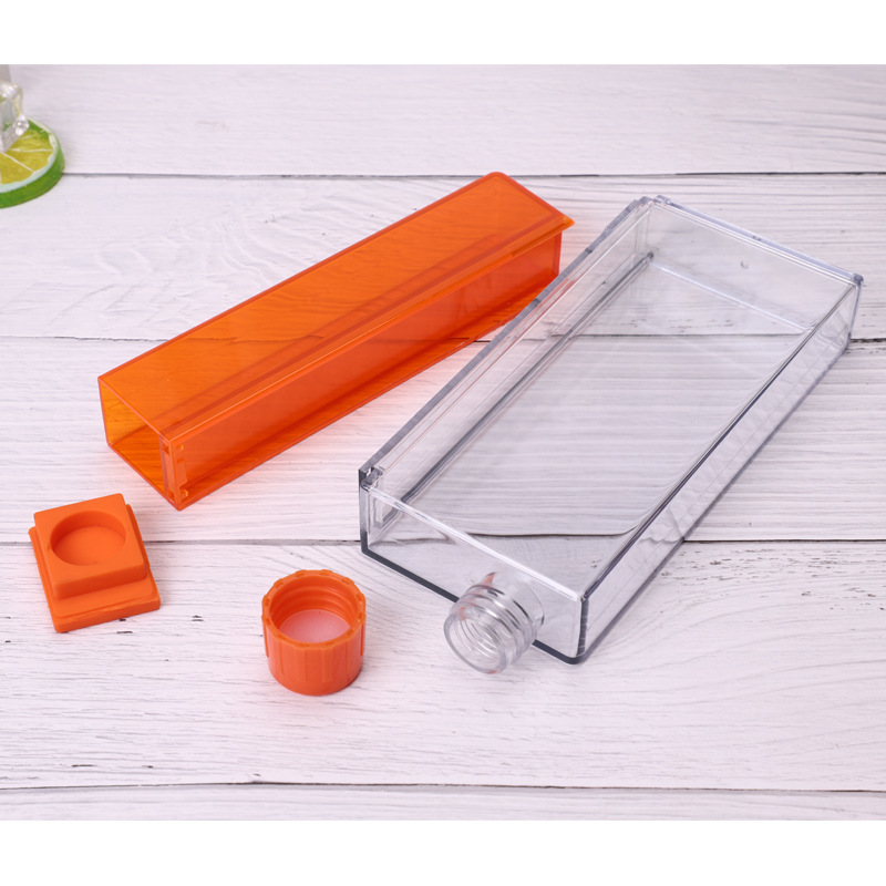 Children Students Portable Plastic Flat Readily Water Bottle A5 Dull Polish Laptop Glass Square Glass