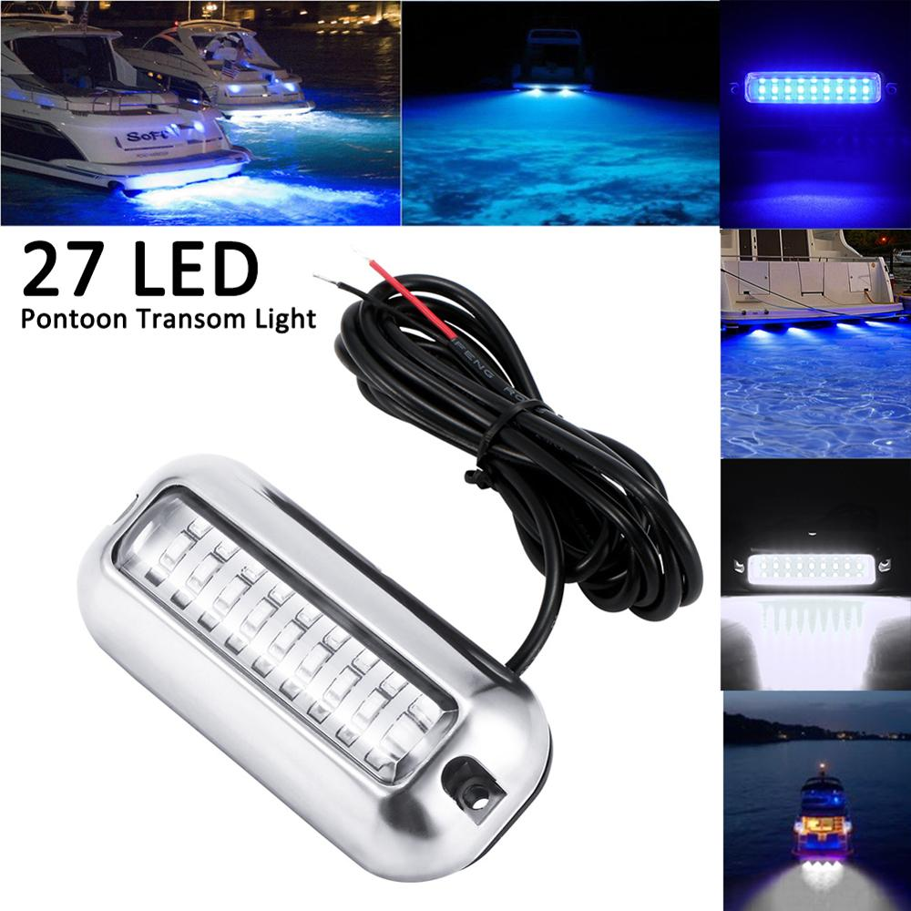 Stainless Steel 27 LED Blue Underwater Pontoon Marine//Boat Transom Light Lamp US