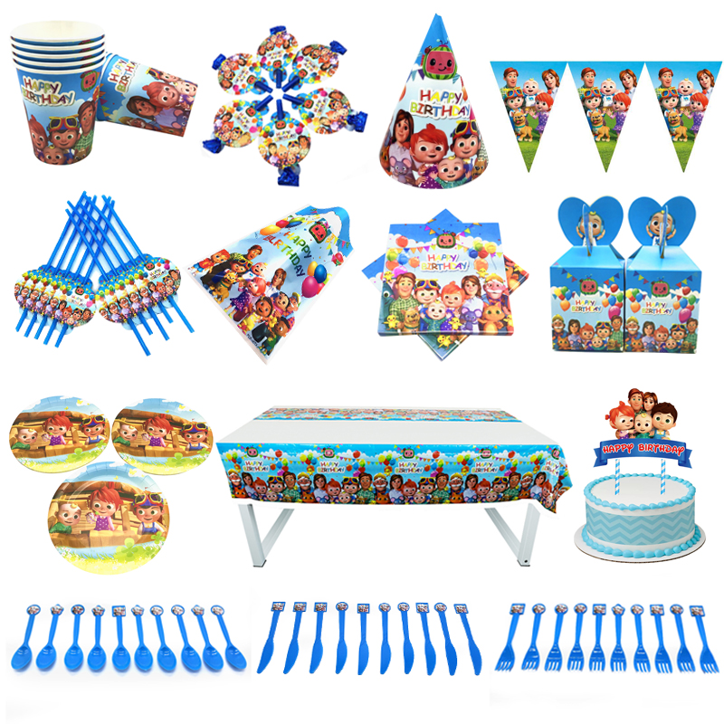 Cocomelon Family party supplies set kids plates cup straws bag fork tableware baby shower birthday party decor flags favors hats