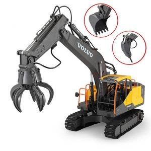 RC Excavator 1:16 Timber Grab Drill 17CH Remote Control Crawler Truck Grab Loader Electric Vehicle Toy for Kids Gift(China)