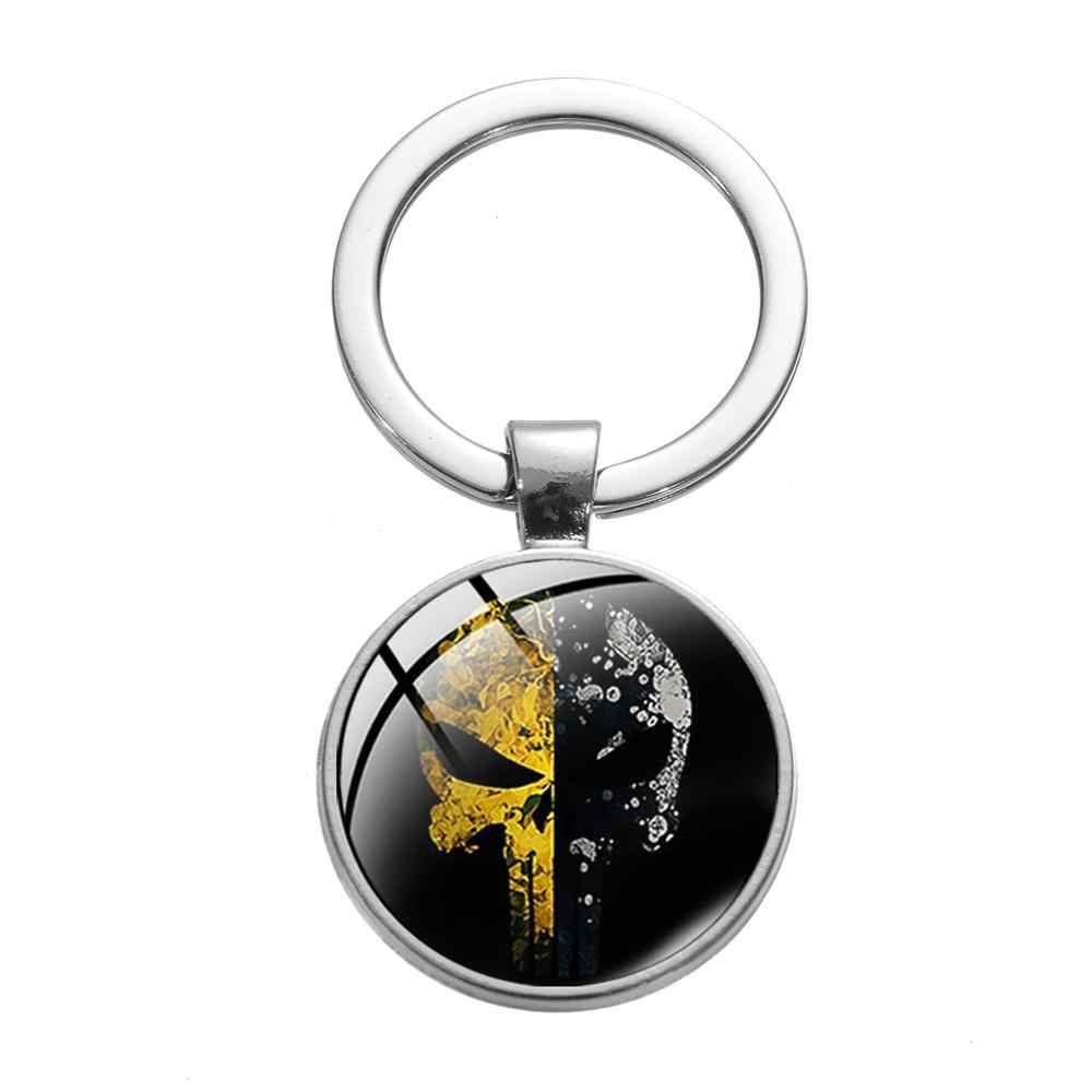 סיאן פאנק אופנה המעניש זכוכית Keychain עונש גולגולת דפוס גיבור סמל כסף מצופה Mens מפתח שרשרת מגניב טלוויזיה תכשיטים