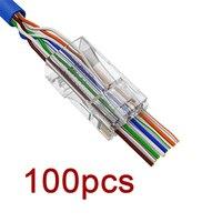Novo 100 pces 8p8c ez rj45 conector cat6 rj 45 utp cabo ethernet rg45 cat5e 8p8c cat 6 rede sem proteção cat5 terminal