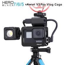 Capa de metal para vlogs ulanzi v3 pro, capa preta para gopro hero 7 6 5, bateria e microfone clipe adaptador para cabo do microfone