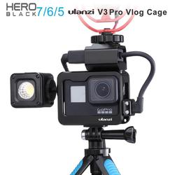 Ulanzi V3 Pro Metal Vlog Case Cage for Gopro Hero Black 7 6 5 Cold Shoe Case with Battery Microphone Adapter Mic Cable Clip
