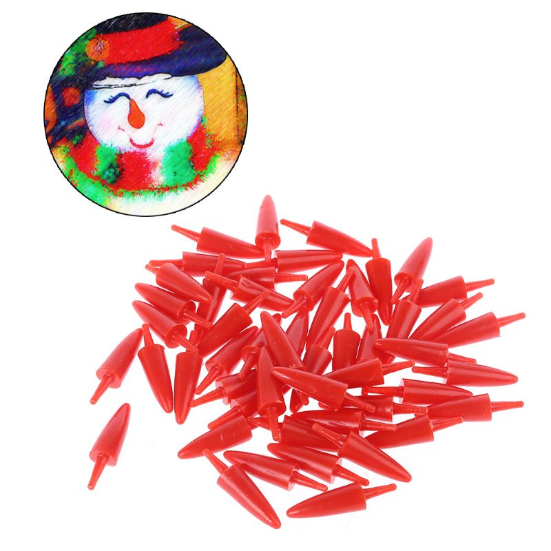 50pcs 12x23mm Plastic DIY Snowman Nose For Handmade Craft Children Kids Toys Christmas Decoration