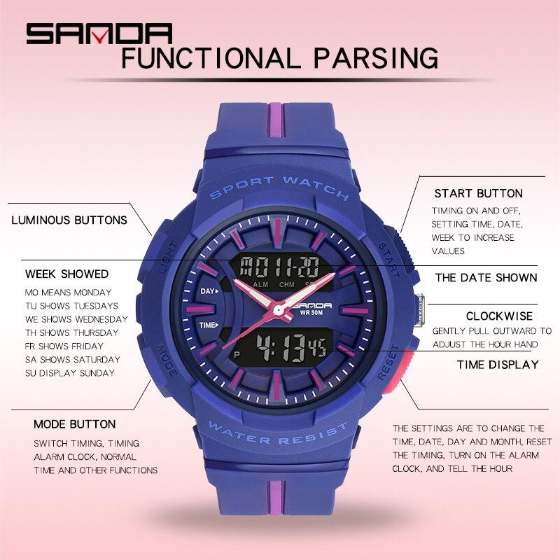 Montres femme mode robe Bracelet haut marque SANDA montre-Bracelet luxe Anti-chute chronomètre montre numérique fille heure réveil 3