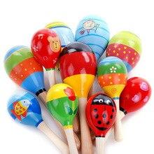 Toys Shaker-Instrument Sand-Hammer Sound-Maker Baby Maraca Wood Rattles Musical-Toy Gift