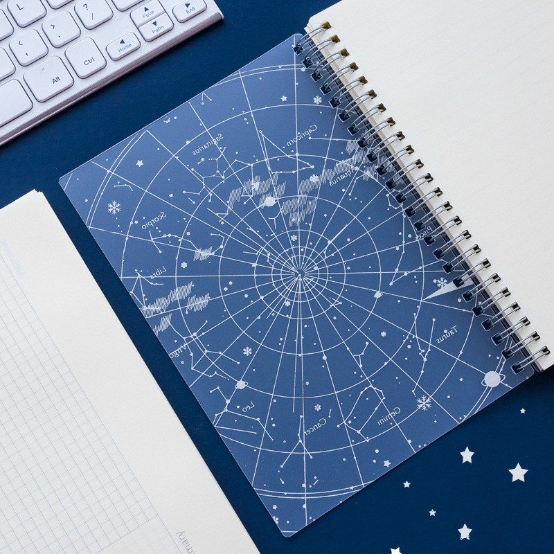 A5 B5 80sheet Spiral Book Coil Notebook Laser Cover Starry Series Grid Line Cornell Paper Journal Diary Sketchbook Stationery
