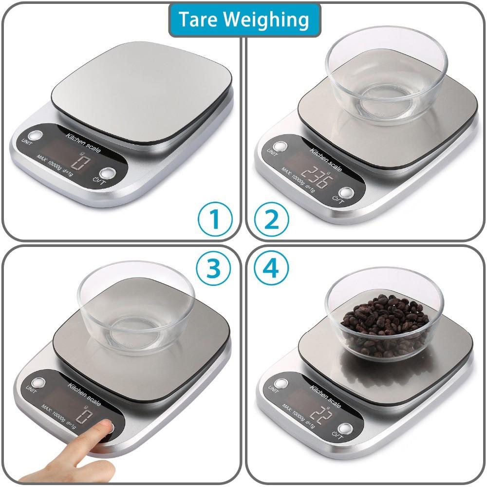 Цифровые кухонные весы, многофункциональный прибор для измерения массы, 10 кг, для приготовления пищи, с ЖК-дисплеем, серебристые-3