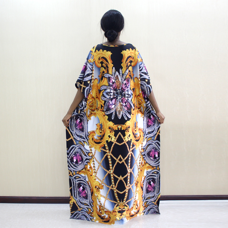 Image 2 - 2019 Newest Design African Dashiki Dress Jewelry Pattern Print Yellow Dresses For WomenAfrica Clothing   -