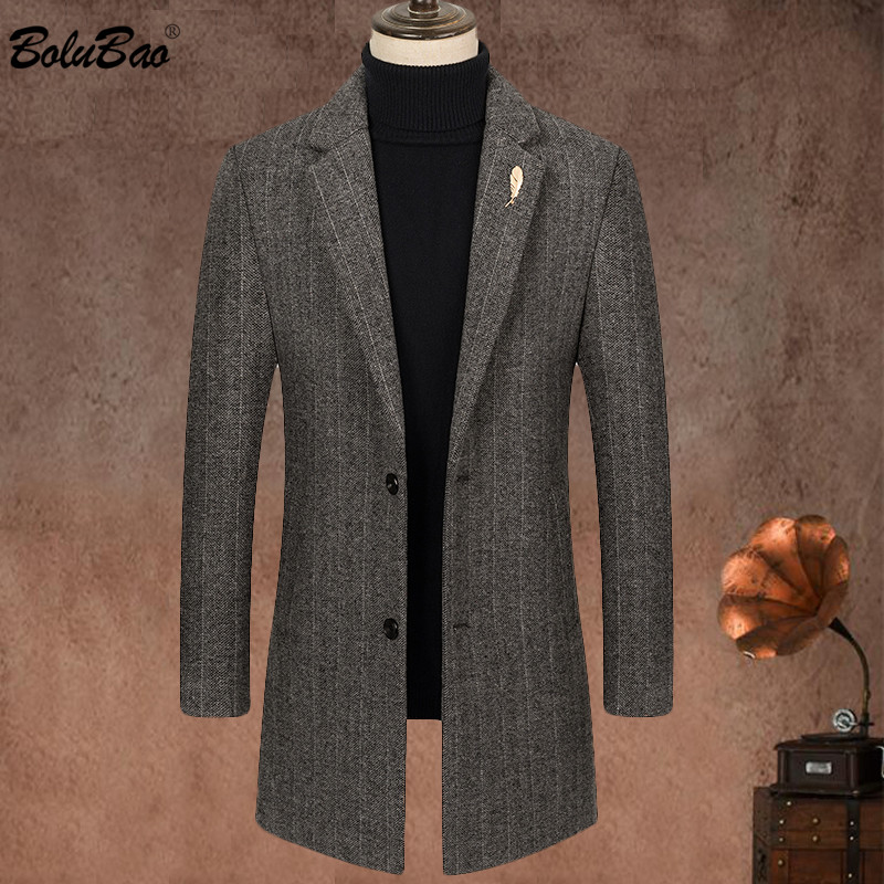BOLUBAO 2020 New Fashion Men Wool Blend Coat Winter Men's Casual Wild Wool Overcoat Quality Brand Male Solid Color Wool Coat