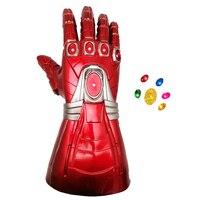 Adult PVC Gloves Avengers Endgame Iron Man Infinity Gauntlet LED Glove Cosplay Detachable Laser Stone Arm Tony Stark Light Up