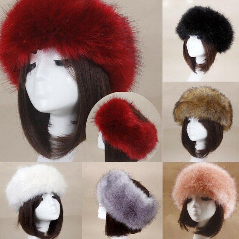 2019 Winter Thick Furry Hairband Fluffy Russian Faux Fur Women Girl Fur Headband Hat Winter Outdoor Earwarmer Ski Hats Hot